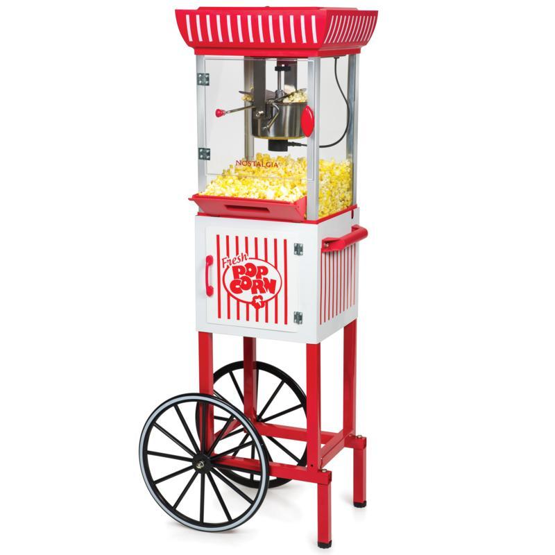 "Nostalgia 2.5 oz. Kettle 48"" Popcorn Cart in Red/White"