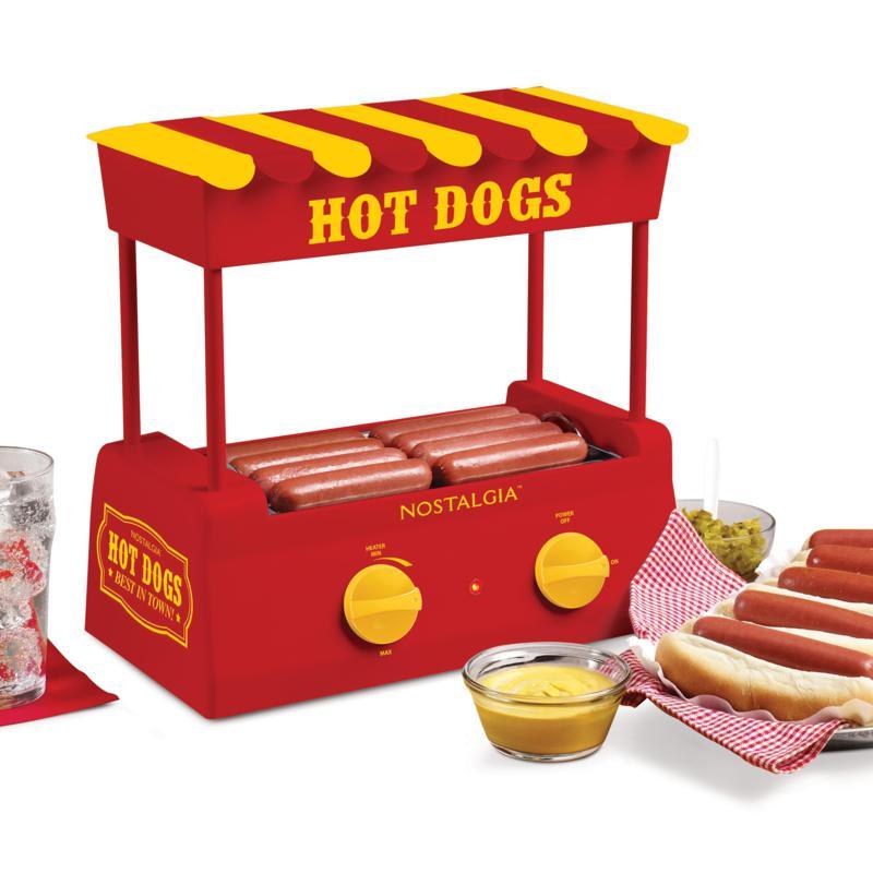 Nostalgia Hot Dog Roller and Bun Warmer - Red/Yellow