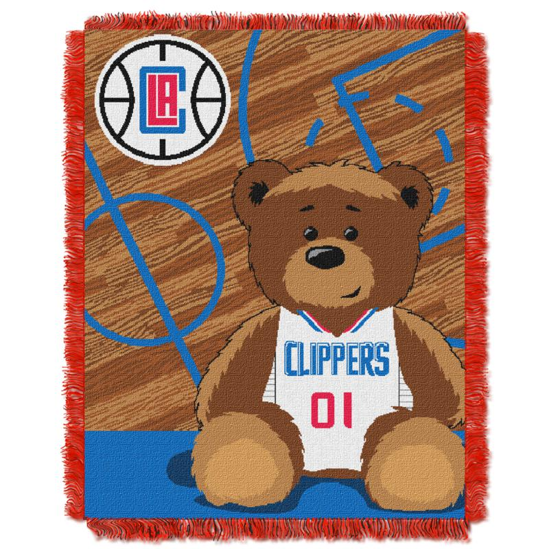 Officially Licensed NBA Clippers Half-Court Baby Woven Jacquard Throw