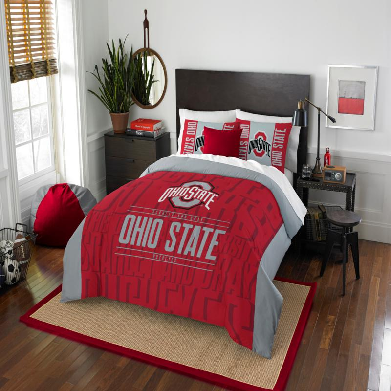 Officially Licensed NCAA Modern Take F/Q Comforter Set - Ohio State