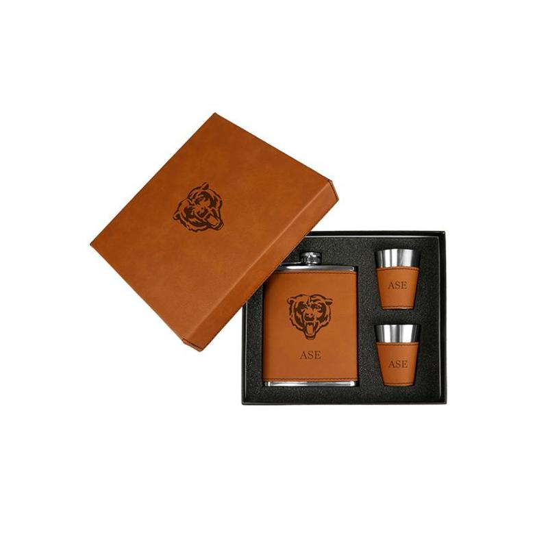 Officially Licensed NFL Sparo Brown Personalized Flask and Shot Set
