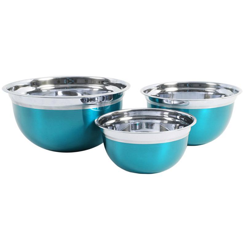 Oster Rosamond 3-Piece Round Mixing Bowl, Metallic Turquoise