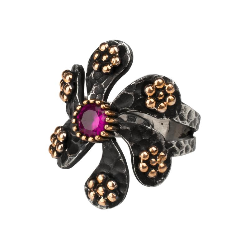 Ottoman Silver Bronze-Accented Ruby Hammered Windmill Ring
