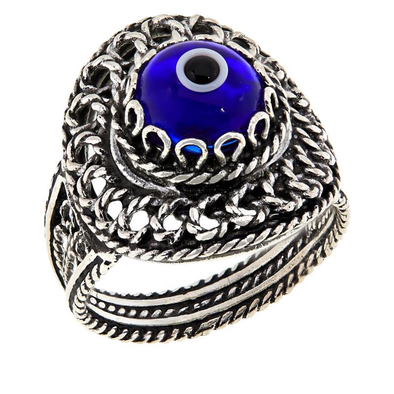 Ottoman Silver Filigree Good Luck Evil Eye Ring