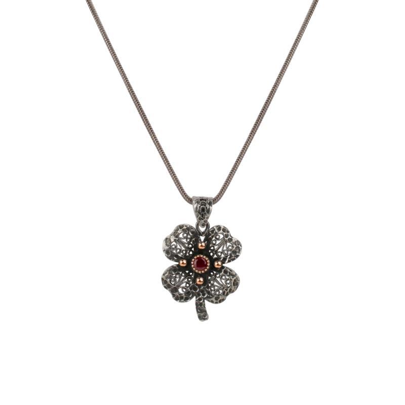 "Ottoman Silver Gemstone Filigree Clover Pendant with 17""  Chain"