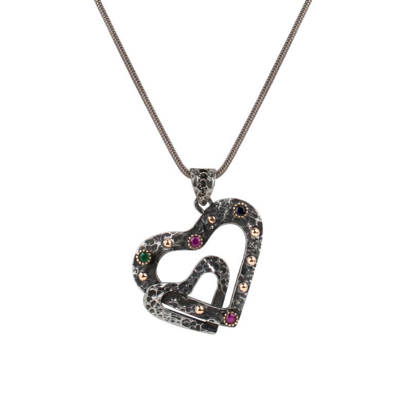 "Ottoman Silver Gemstone Filigree Double-Heart Pendant with 17""  Chain"