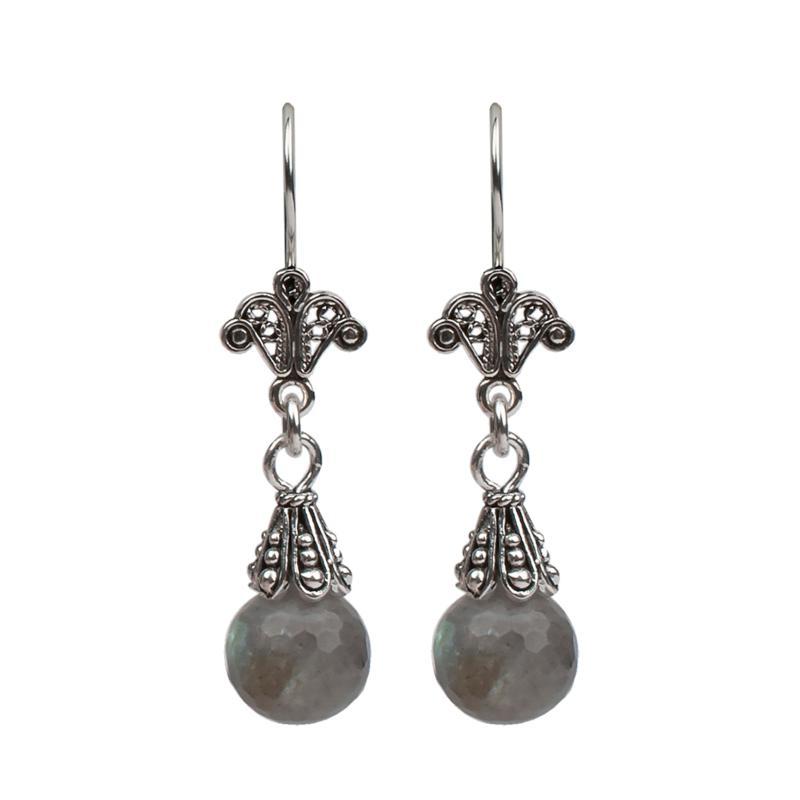 Ottoman Silver Labradorite Filigree Drop Earrings