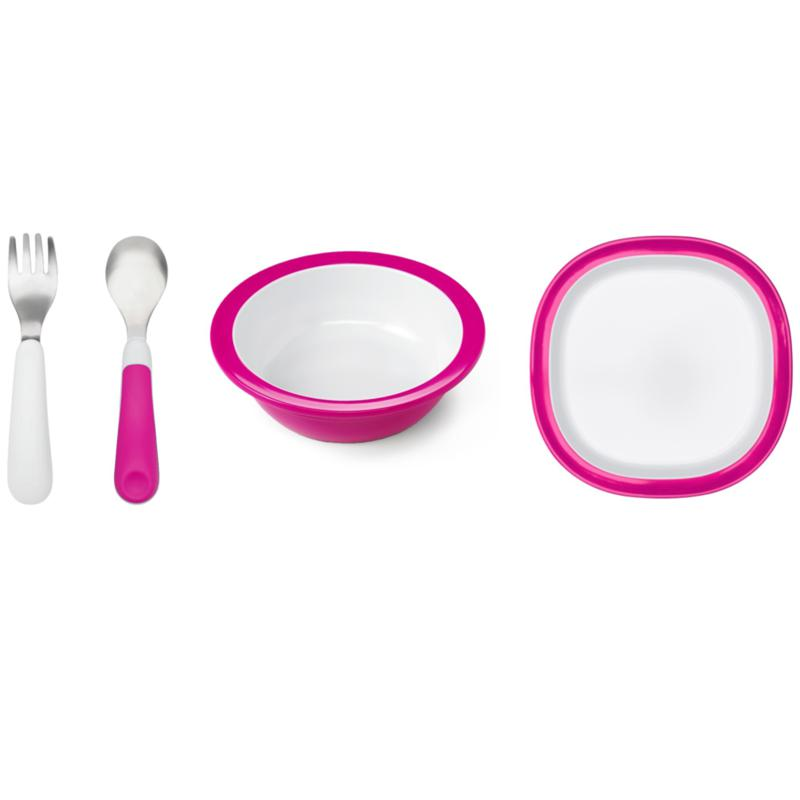 OXO Tot Melamine Plate Melamine Bowl and Fork and Spoon Set