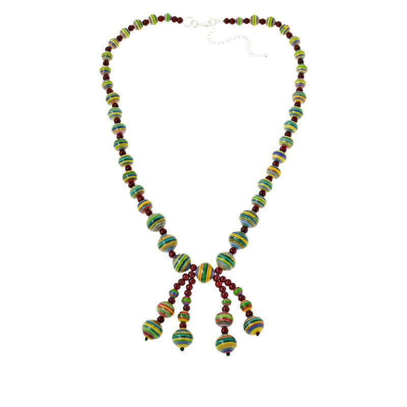 """Paper Beads by Janice Mae 30"""" Wood-Accented Dangle Necklace"""