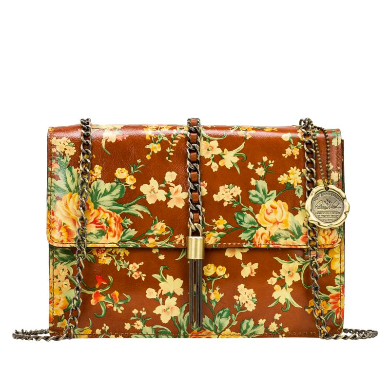 Patricia Nash Adelfia Leather Chain-Link Tassel Flap Crossbody Bag