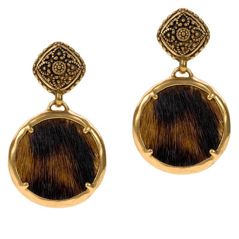 Patricia Nash Carina Leather Charm Drop Earrings