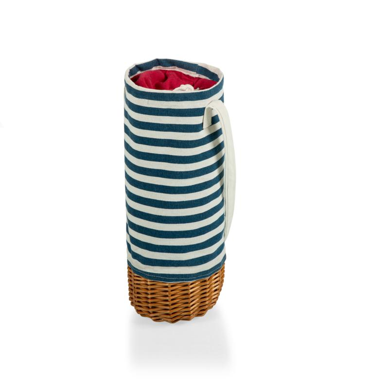 Picnic Time Malbec Wine Bottle Basket - Navy Blue & White Stripe