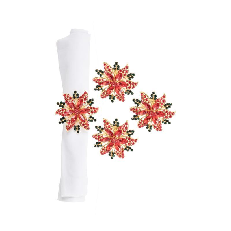Poinsettia Napkin Ring 4-Pack