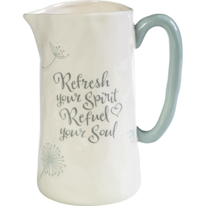 """Precious Moments """"Refresh Your Spirit, Refuel Your Soul"""" Pitcher"""