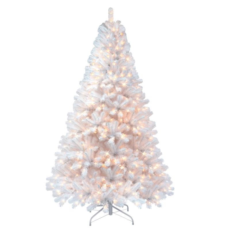 Puleo 7-1/2 ft. Pre-Lit Arctic Fir Flocked Artificial Christmas Tree