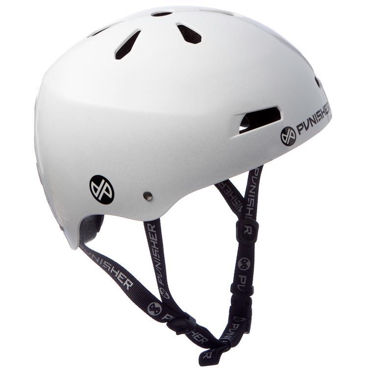 Punisher Premium Bright White Youth Skateboard Helmet