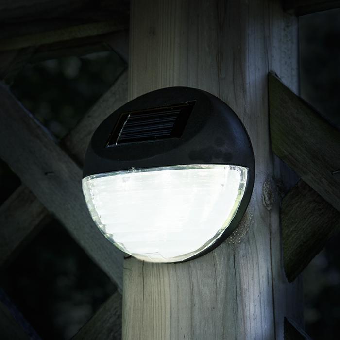 Pure Garden Solar Round LED Lights Set of 4 - Black