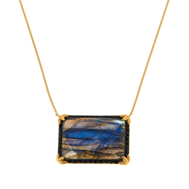 """Rarities 18"""" Gold-Plated Gemstone and Black Spinel Drop Necklace"""