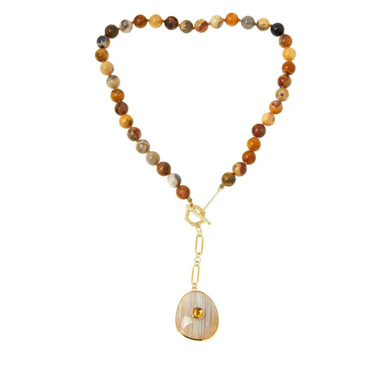 """Rarities 18"""" Gold-Plated Gemstone Beaded Toggle Drop Necklace"""