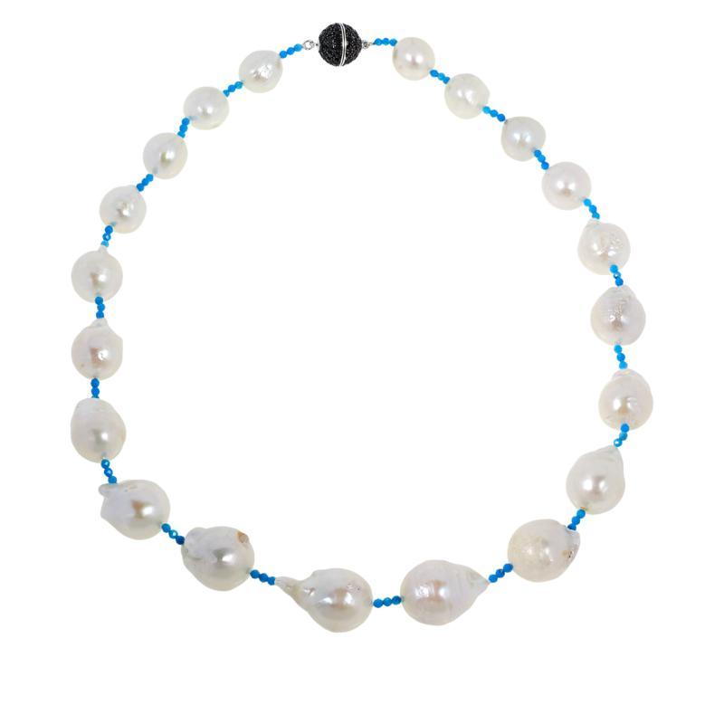 """Rarities 20"""" Cultured Pearl & Howlite Necklace with Black Spinel Clasp"""
