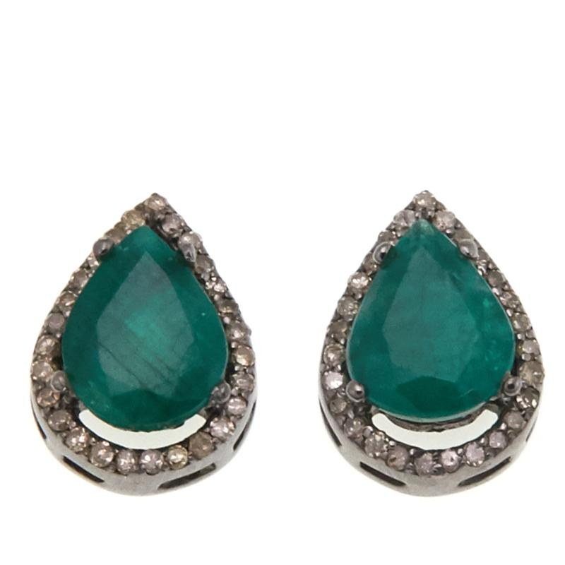 Rarities 4.27ctw Emerald and Diamond Pear-Shaped Stud Earrings