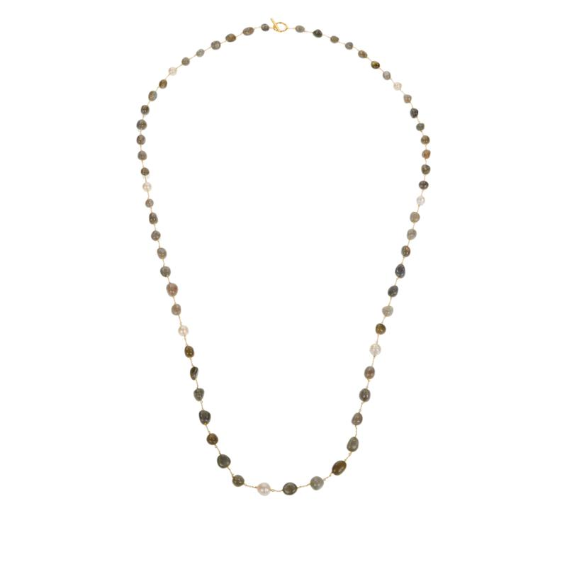 """Rarities 60"""" Cultured Keshi Pearl and Gemstone Link Necklace"""