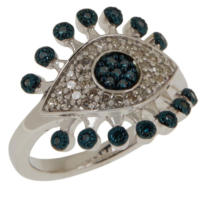 Rarities Blue and White Diamond Evil Eye Ring