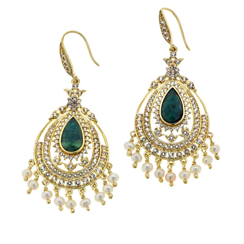 Rarities Emerald, White Topaz, Cultured Pearl Chandelier Drop Earrings