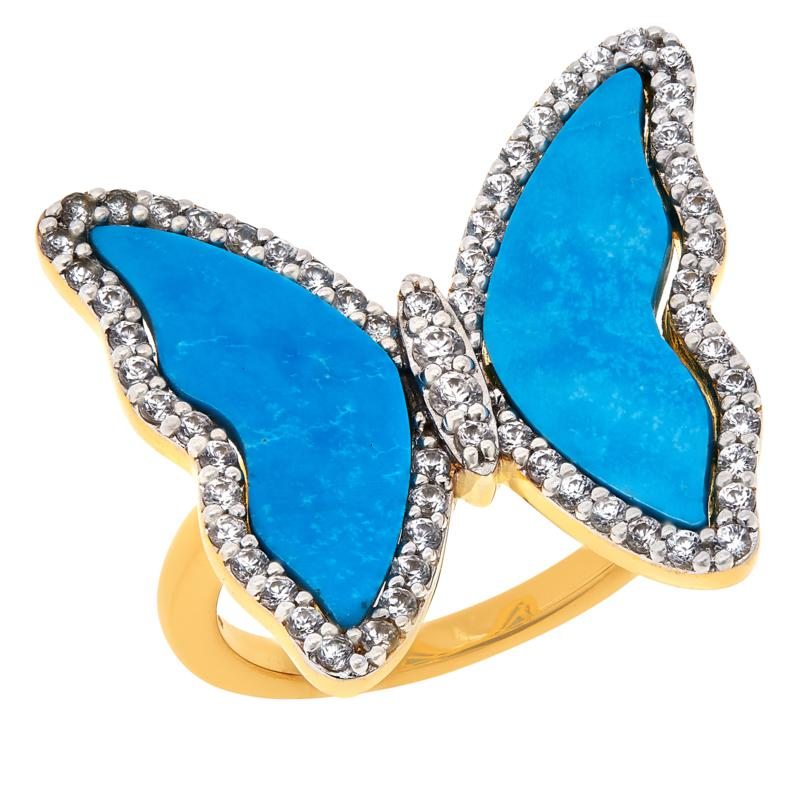 Rarities Gem and White Zircon Gold-Plated Butterfly Ring