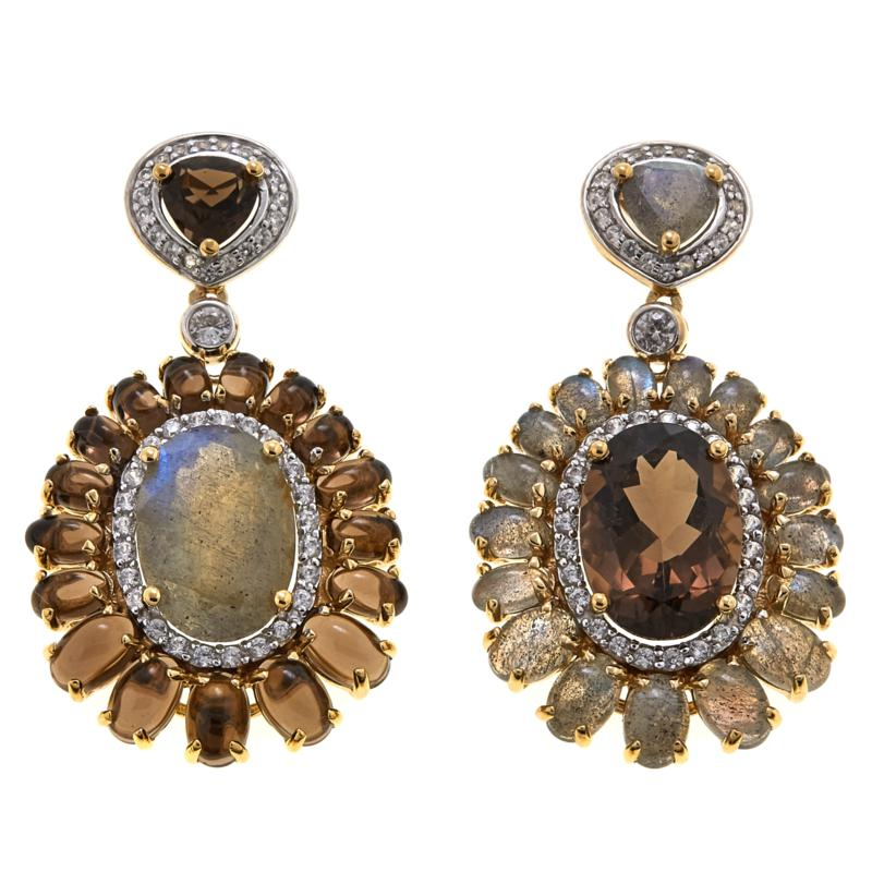 Rarities Gem and White Zircon Mismatched Drop Earrings