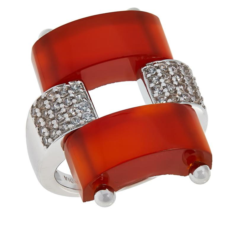 Rarities Gemstone and White Zircon Domed Ring