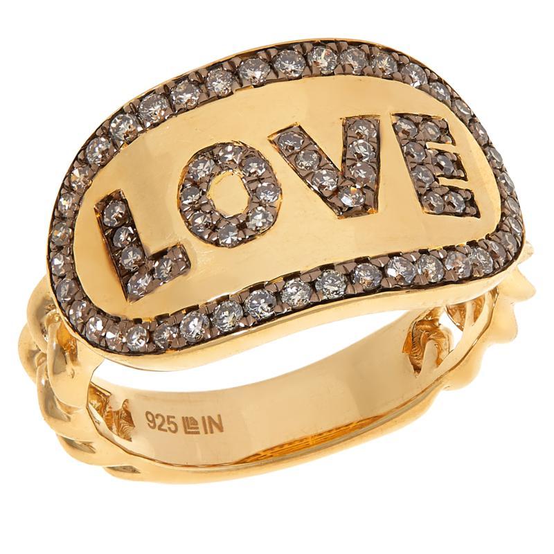 "Rarities Gold-Plated 0.5ctw Champagne Diamond ""Love"" Ring"