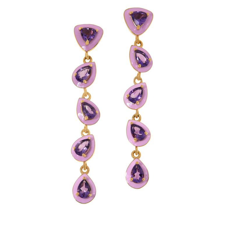 Rarities Gold-Plated Amethyst and Pink Enamel Dangle Earrings