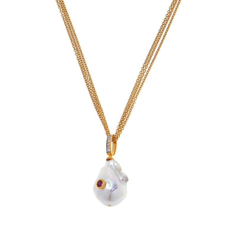 Rarities Gold-Plated Baroque Pearl and Gemstone Pendant with Necklace