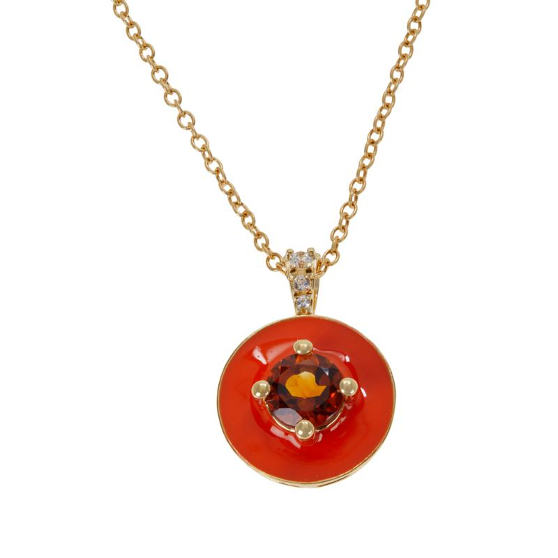 Rarities Gold-Plated Gem and White Zircon Enamel Pendant with Chain