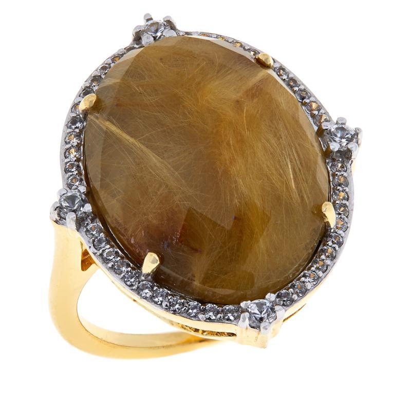 Rarities Gold-Plated Golden Rutilated Quartz and Zircon Ring