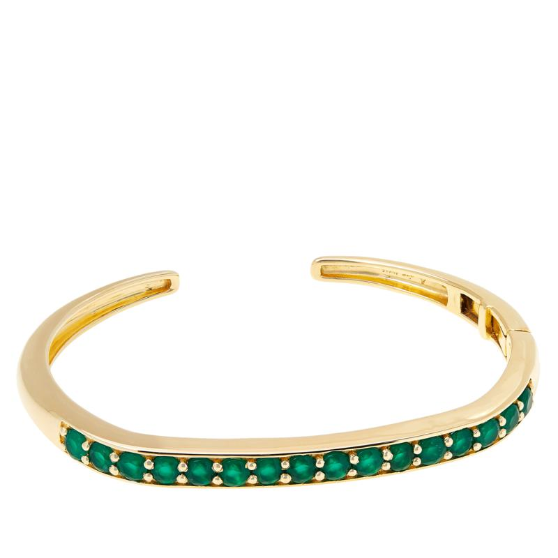 Rarities  Gold-Plated Green Chalcedony Cuff