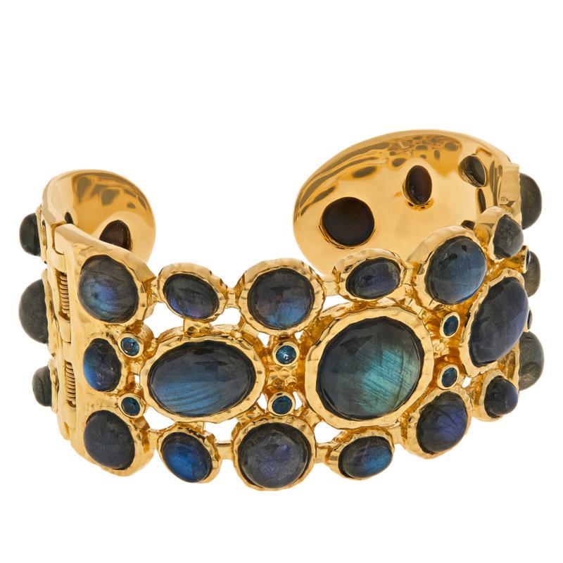 Rarities Gold-Plated Labradorite and London Blue Topaz Cuff Bracelet
