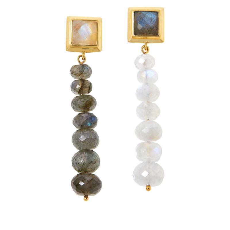 Rarities Gold-Plated Labradorite and Moonstone Mismatch Drop Earrings