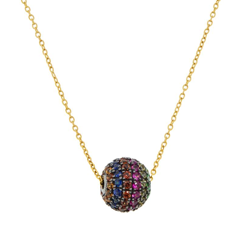 Rarities Gold-Plated Multi-Gemstone Rainbow Glitter Ball Necklace