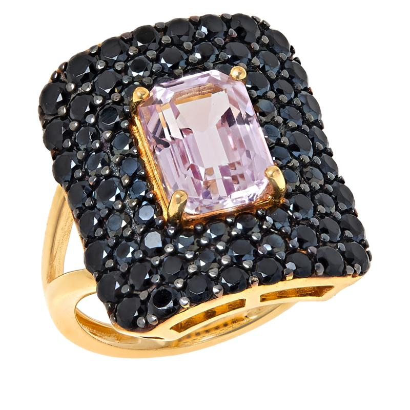Rarities Gold-Plated Pink Kunzite and Black Spinel Rectangular Ring