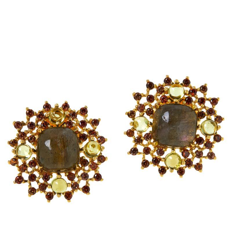 Rarities  Gold-Plated Purple Labradorite and Multi-Gemstone Earrings