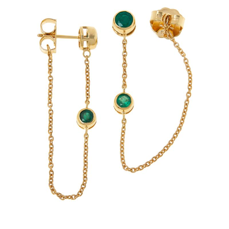 Rarities Gold-Plated Sterling Silver Emerald Chain-Link Drop Earrings