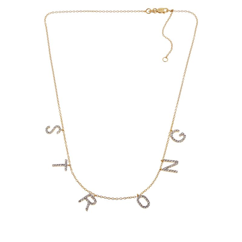 Rarities Gold-Plated Sterling Silver White Zircon STRONG Necklace