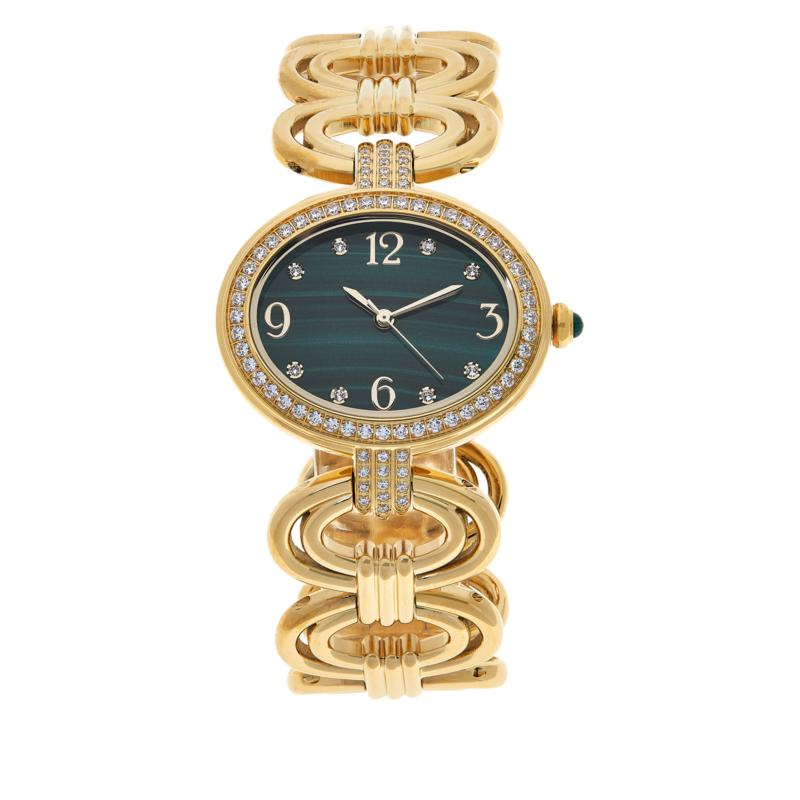 Rarities Goldtone Gemstone Dial Statement Link Bracelet Watch