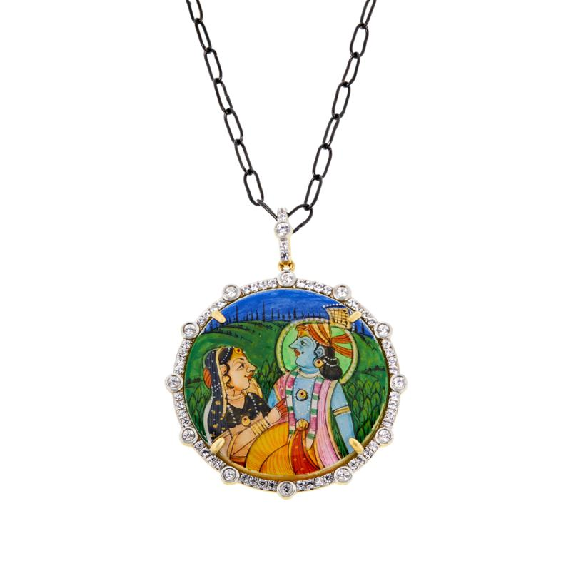 Rarities Hand-Painted King and Queen Agate & Zircon Pendant Necklace