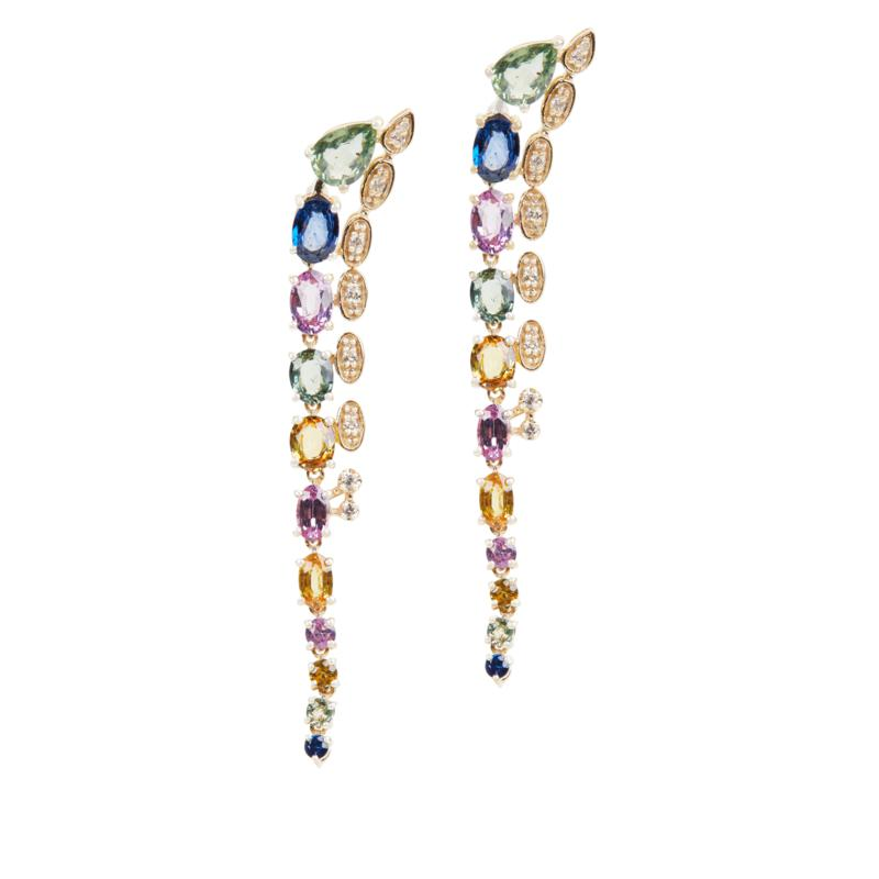 Rarities Multicolored Sapphire and Diamond-Accented Dangle Earrings