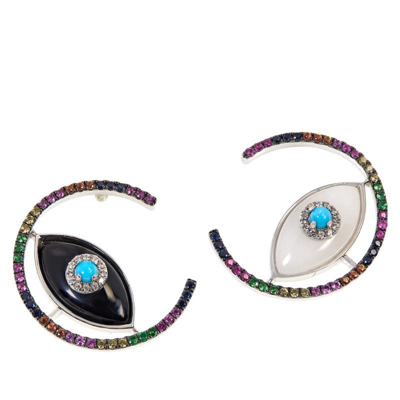 Rarities Sterling Silver Onyx and Multi-Gemstone Mismatch Earrings