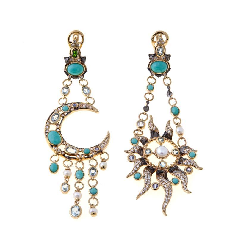 Rarities Vermeil Multigem Sun and Moon Drop Earrings
