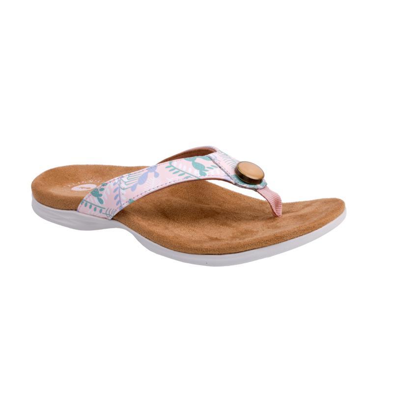 Revitalign Starling Leather Flip Flop Orthotic Sandal, Blue & Blush